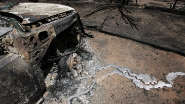 A burnt out car in Strathewan.