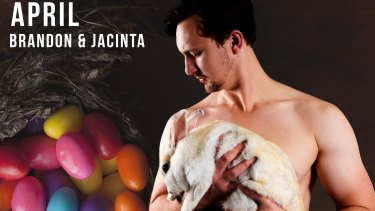 Brandon and Jacinta the bunny starred on the April page of the men of Mooseheads security calendar.