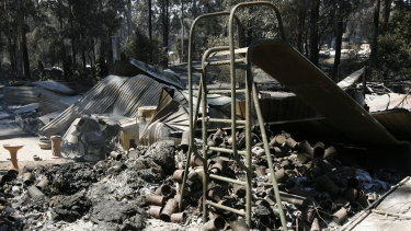 The remains of a house after the fire swept through Kinglake.