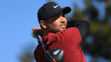 Jason Day tees off from the ninth hole during the second round of the AT&T Pebble Beach Pro-Am.