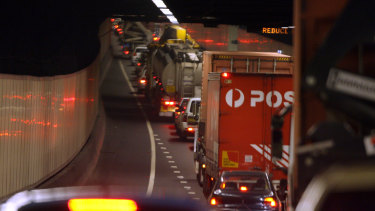 M5 traffic in the tunnel heading west as commuters finish work and crawl home bumper to bumper from the CBD.