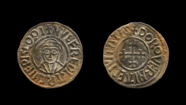 A coin which was part of the Viking hoard the metal detectorists have been convicted of stealing. The coins were typical of Viking use in the 9th and 10th centuries in Britain.