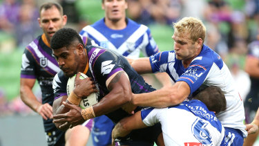 Tui Kamikamica goes over for a try for the Storm in round four.