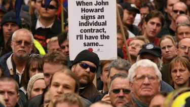 A Melbourne rally against the Howard government's WorkChoices laws.