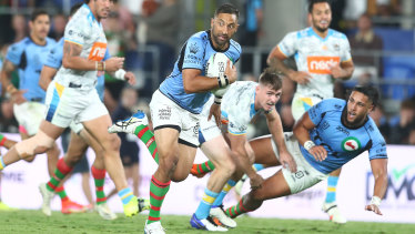 Benji Marshall breaks away to score on Friday night. Watching Marshall is like watching an Italian sculptor at work.