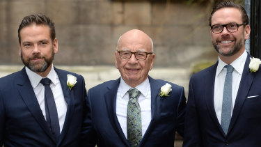 Rupert Murdoch flanked by sons Lachlan (left) and James.