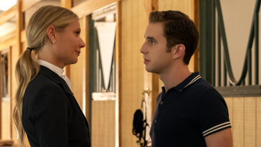 Ben Platt, right, is determined to become president of the United States in The Politician. Gwyneth Paltrow plays his wealthy mother.