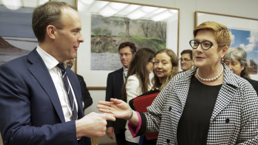 UK Foreign Secretary Dominic Raab with Foreign Minister Marise Payne in Canberra in February 2020.
