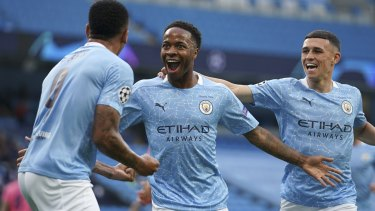 Raheem Sterling celebrates his opener.