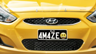 An example of emoji plates, which will be available in Queensland in less than two weeks.