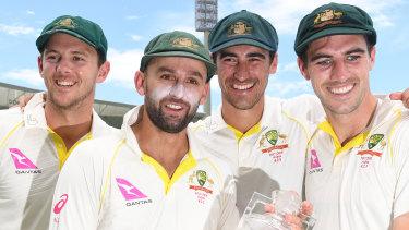 Australia's bowling attack (left to right): Josh Hazlewood, Nathan Lyon, Mitchell Starc and Pat Cummins.