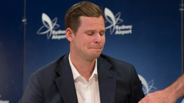 Fallen star: Steve Smith after his press conference at Sydney Airport.