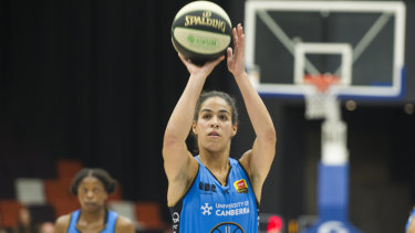 On point: Kia Nurse led the way for the Canberra Capitals against the Flyers.