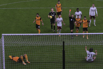 Arsenal had been the better side at Molineux before David Luiz was controversially sent off.