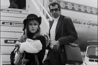 With first husband Roger Vadim and daughter Vanessa.