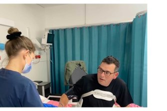 A photo shared by Daniel Andrews earlier this week when he was moved from ICU.