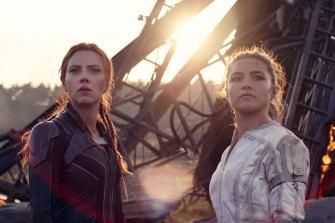 Scarlett Johansson as Natasha Romanoff and Florence Pugh as Yelena in Black Widow.