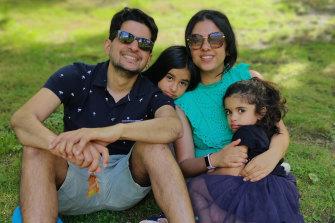 Ritika Shah with her daughters Sara and Kiyara and her husband Sid.