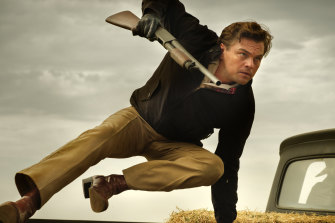 Leonardo DiCaprio as the fading star of westerns, Rick Dalton.