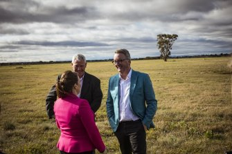 This patch of paddock in Cobblebank, inspected by Melton mayor Kathy Majdlik, Melton MP Steve McGhie (centre) and Health Minister Martin Foley, is to be home to the state's newest public hospital.