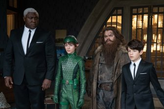 From left, Nonso Anozie, Lara McDonnell, Josh Gad and Ferdia Shaw in a scene from Artemis Fowl.