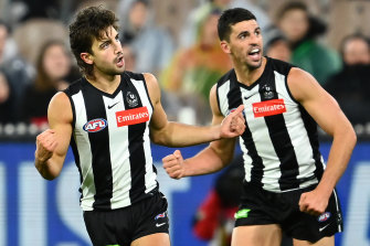 Young Collingwood star Josh Daicos celebrates a goal during the Magpies' clash with the GWS.
