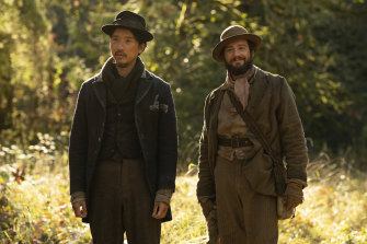 Orion Lee (left), and John Magaro in First Cow.