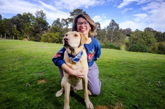 Riesa Renata and Bowie, of Instagram account @masterbowie2016, at their home in Hurstbridge.