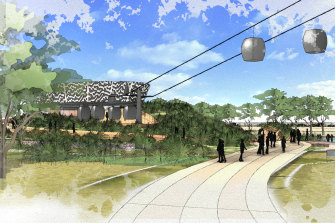 An artist's impression of the 'Sky Safari gondola' to be built at Werribee Zoo.