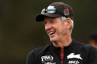 Wayne Bennett enjoying a laugh at Souths training