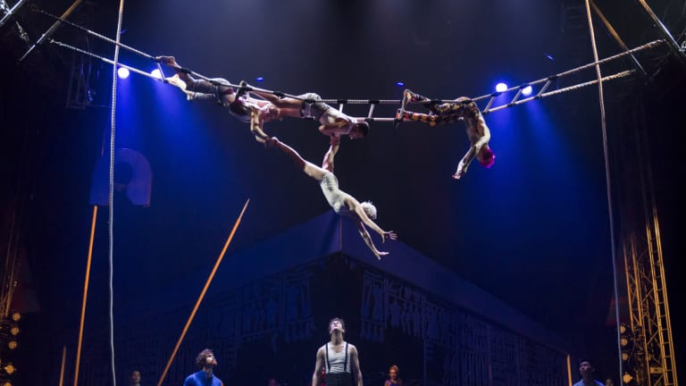 An aerial act in Circus Oz's <i>Model Citizens</i>.