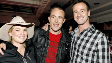 Kate Cook, left, with fellow Australian Idol contestants Casey Barnes and Toby Moulton in 2009.