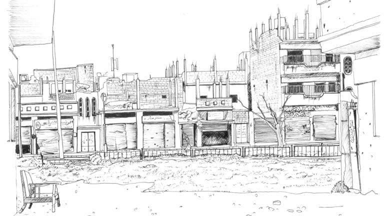 Marwa Al-Sabouni's drawing of Baba Amr, a neighbourhood in south-western Homs that was destroyed during the war. Illustration: @Marwa Al- Sabouni/ The Battle for Home, 2016.