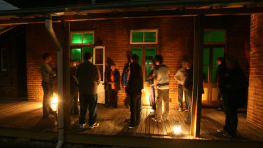 A group visits the Quarantine Station for a Night Ghost Tour at North Head near Manly.