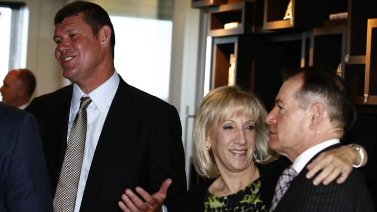 James Packer, Pam Williams and John Alexander at the Sydney  launch of Williams' book <i>Killing Fairfax</i> in 2013.
