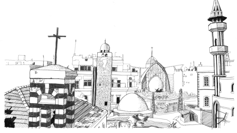 Maraw Al-Sabouni's sketch of mosques and churches in Old Homs. Illustration: @Marwa Al-Sabouni/ The Battle for Home, 2016.