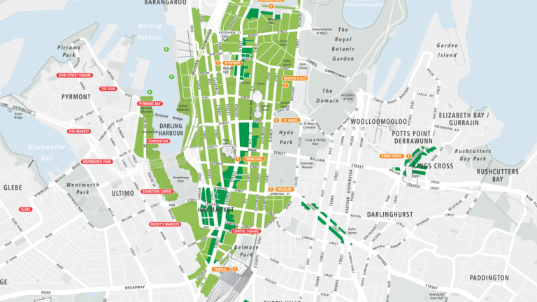 Existing and proposed 24-hour trading areas in Sydney's CBD.