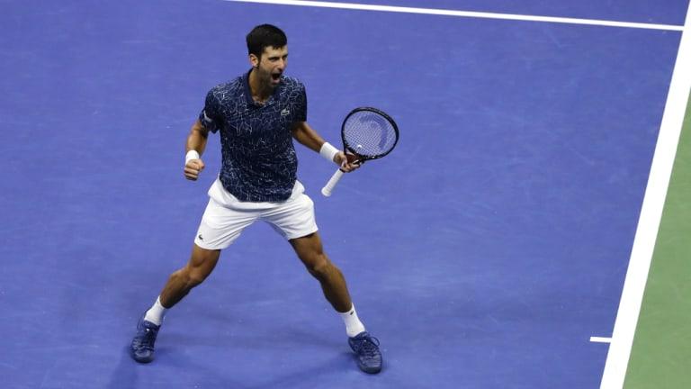 Fine line: Novak Djokovic, of Serbia, celebrates after defeating Kei Nishikori.