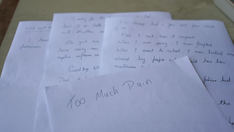 """""""Too much pain"""": The letter left by John Pirona."""