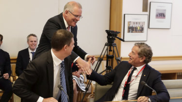 Mark Bouris with Prime Minister Scott Morrison at a meeting of popular boards at the beginning of this year.
