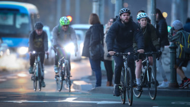Melbourne cyclists brave the coldest June morning in two years.
