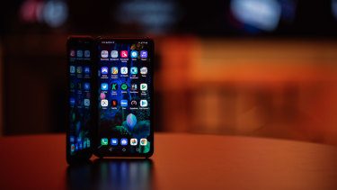The double-screened LG V50 is one of the three 5G smartphones available in Australia.