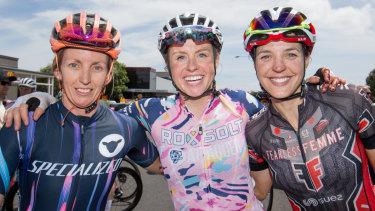 The top three women across the line: Taryn Heather, Peta Mullens and Rebecca Wiasak.