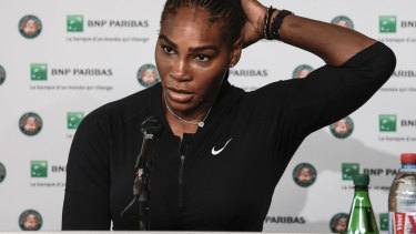 Serena Williams after pulling out of the French Open.