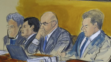 "Mexican drug lord Joaquin ""El Chapo"" Guzman in a courtroom drawing, second from left."