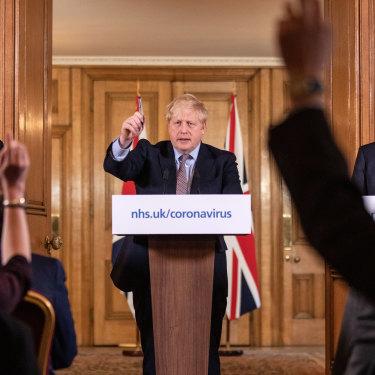 Prime Minister Boris Johnson at a March 16 press conference.