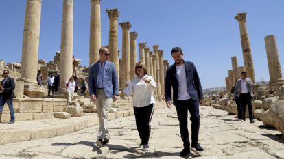 Prince William tours Roman ruins in Jordan, meets refugees