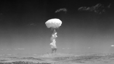 A cloud rises over Yucca Flat, Nevada, during a nuclear test detonation in 1952. The treaty hopes to bring an end to nuclear weapons.