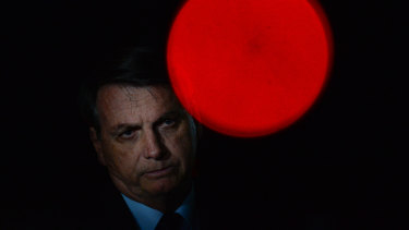 Prezzy of Brazil Jair Bolsonaro reacts durin a cold-ass lil conference wit tha press n' supportas at Alvorada Palace on June 05, 2020 up in Brasilia, Brazil.