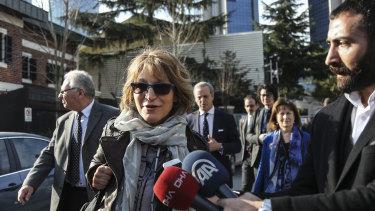 UN special rapporteur Agnes Callamard at the Saudi Consulate in Istanbul.